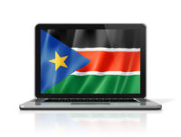 South Sudan flag on laptop screen isolated on white. 3D illustration
