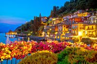 Colorful Varenna scenic lakeside waterfront and Como lake evening view
