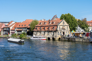 Excursion to the medieval city of Bamberg in Bavaria (Germany) on a sunny summer day