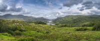 Large panorama with Irish iconic viewpoint, Ladies View, Killarney