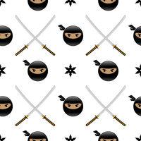 Set of Ninja Star. Asian Traditional Katana Weapon. Shuriken Logo. Japan Ancient Sword. Seamless Pattern