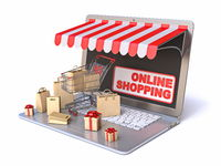 Shopping cart, bags and gift boxes on laptop Online shopping concept Side view 3D