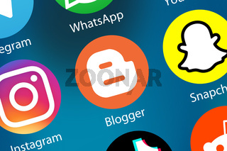 Blogger Logo Blog bloggen Icon im Internet Hintergrund