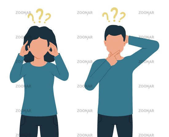 Vector illustration of thinking people, man and woman with question marks.