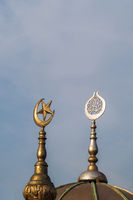 Metal islamic crescent moon icon