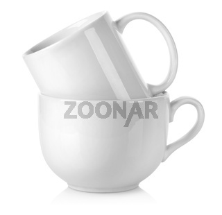 Two white cup isolated