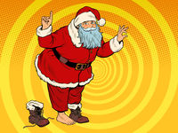 Santa Claus without a boot. Christmas character