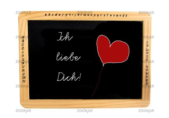Schiefertafel, Freisteller mit Text: Ich liebe Dic