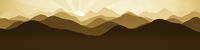 flat layers landscape background with the sun