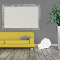 Puristic modern room with a yellow sofa