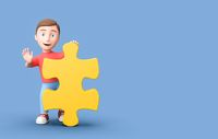 Young 3D Cartoon Character with Puzzle Piece on Blue Background with Copy Space