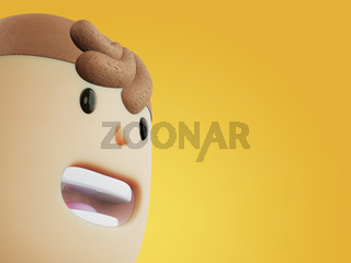 Close up face of 3d rendered cartoon character with opened mouth on yellow background. Activist face, politics, young man.