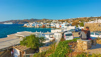 Mykonos town by the sea
