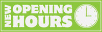 NEW OPENING HOURS sign or sticker with clock icon
