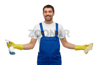 male cleaner cleaning with rag and detergent