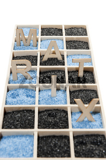 Box with word MATRIX in the Sand