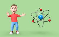 Young 3D Cartoon Character and Atom on Green Background with Copy Space