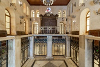 Altar of historic Jewish Maimonides Synagogue or Rav Moshe Synagogue with wooden entrance at the far end, Cairo, Egypt