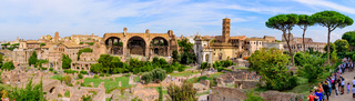 Panorama of Colosseum and Roman Forum, a forum surrounded by ruins in Rome, Italy