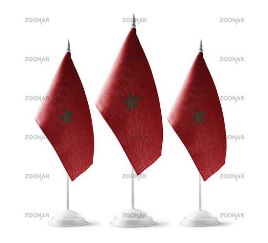 Small national flags of the Morocco on a white background