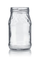 Front view of empty glass jar