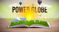 Open book, renewable energy concept