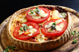Tradition French bacon quiche with onion