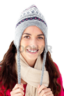 Portrait of an attractive woman wearing winter clothes smiling