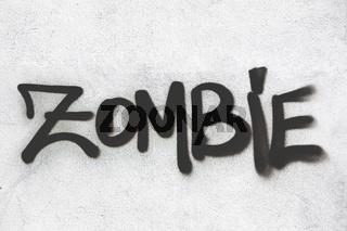 Zombie graffiti on wall