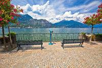 Lungolago Europa famous lakefront walkway in Belaggio, town on Como Lake