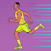 Black male athlete runner. An African does sports