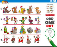 odd one out picture game with Christmas characters and objects