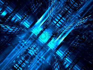 Blue tunnel or well - abstract technology 3d illustration