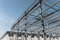 steel structure workshop with sunny sky