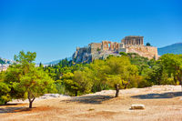 Acropolis hill in Athens in Greece