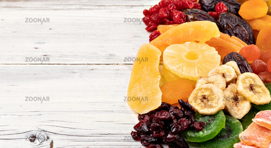 Dried fruits collection on a wooden