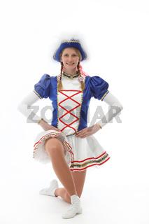 Funkenmariechen im Karneval oder Fasching posiert