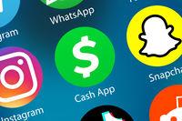 Cash App Logo Geld überweisen zahlen Zahlungsdienst Icon im Internet Hintergrund