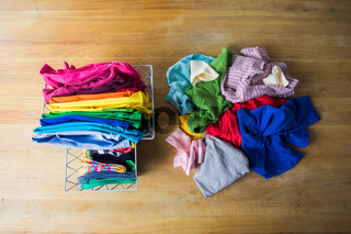 Zero waste wardrobe concept or mindful consuption