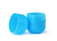 Open blue plastic toy egg