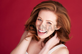 Ginger woman smiling