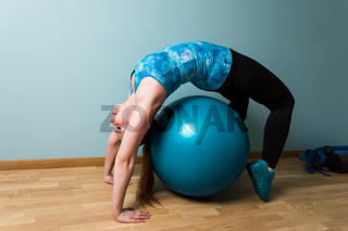Self relaxation time at home on blue fitball