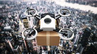 Unmanned drone carrying cargo box above the big city view. 3D illustration