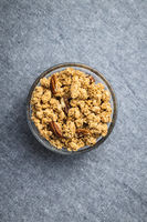 Breakfast cereal. Morning granola in bowl.