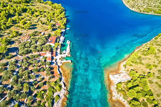 Katina island narrow sea passage in Kornati islands national park aerial view
