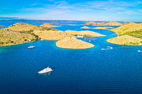 Kornati. Island archipelago of Kornati national park yachting destination aerial view