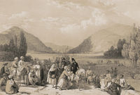 Surrender of Dost Mahommed Khan, to Sir William Hay MacNaghten Bart, at the entrance into Caubul from Killa-Kazee