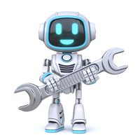 Cute blue robot holding wrench tool 3D