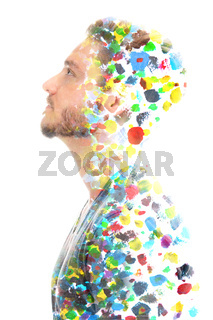 Paintography. Colorful abstract painting combined with a profile portrait