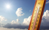 Thermometer with celsius scale showing extreme high temperature.